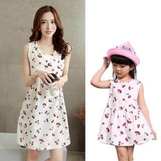 Čerešňa šaty pre mamičku a dcérku biele (rodinné oblečenie)
