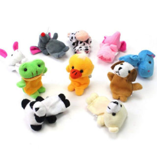 Plyšové bábky na prsty – zvieratká maňušky (10 kusov)
