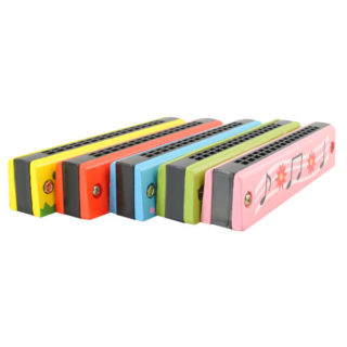 Detská drevená fúkacia harmonika (rôzne farby)